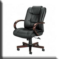 Wooden Arms Leather Office Chair-Wooden Arms Leather Office Chair